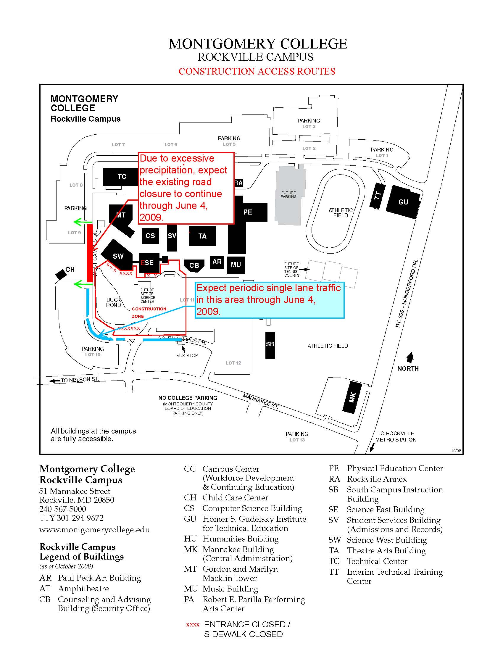 Temporary Road Closure On Rockville Campus  Inside MC Online