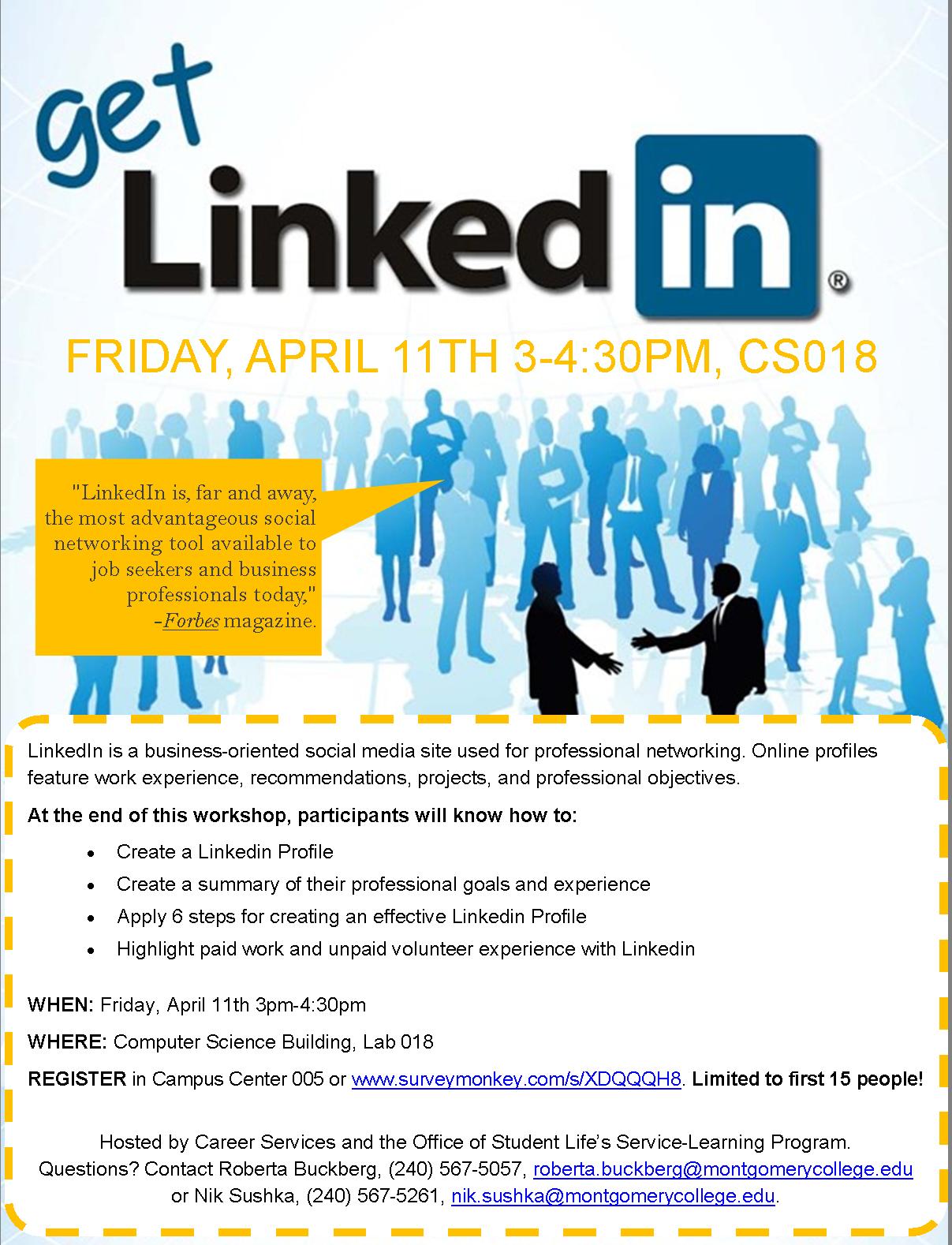 Get Linkedin Workshop This Friday April 11 Inside Mc Online